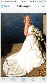 Mori Lee taffeta A Line Talia pearl white designer wedding dress gown size 10-12