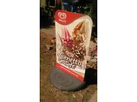Metal sign . Wall's confectionary ice cream cornetto collection double sign and base
