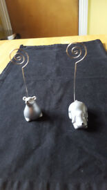 Silver dog and mouse photo/pic holders £1