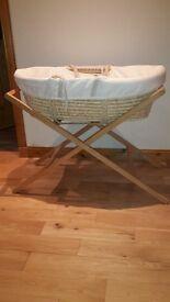 Mamas and Papas moses basket and wooden stand. VGC.