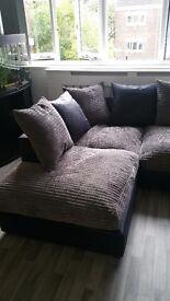 Beautiful Grey & Black Corner Sofa