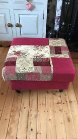 Cranberry Red Footstool / Pouffe Laura Ashley fabric