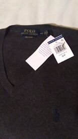 Brand New with tags AUTHENTIC Ralph Lauren mens jumper. Dark Grey size Small Fashion Apple