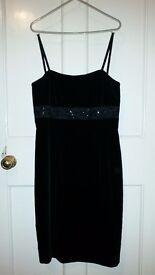 Monsoon Little Black Velvet Dress - Size 10