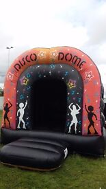 Disco Dome Bouncy Castle with fan, stakes, waterproof extension lead, bluetooth speaker and lights