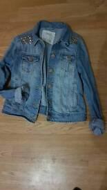 Denim jacket with gold studs size 12