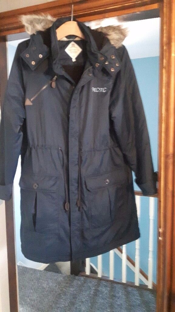 MCFC Ladies Fur Hooded Blue Coat Size 16