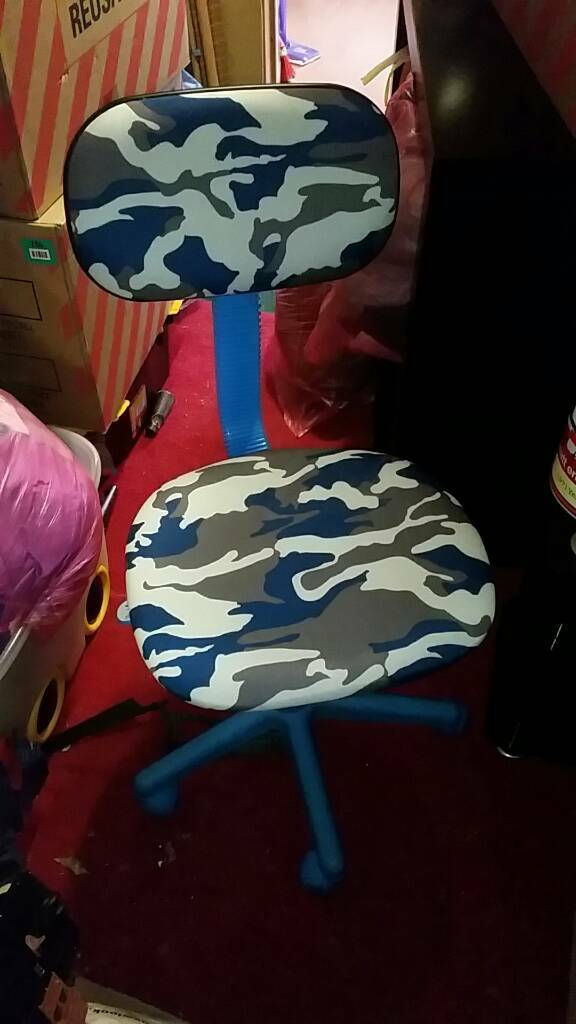 Blue camouflage swivel chair