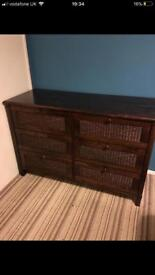 Mahogany effect 6 drawer chest