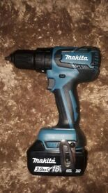 New Unused Makita 18v Brushless DHP459 drill and new 3 Ah battery. No Charger or case.
