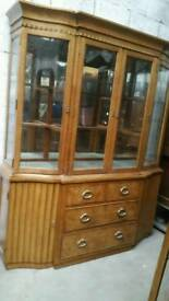 Art deco style walnut display cabinet /dresser