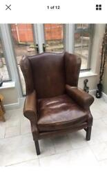 Halo Living 'Downing' Aniline Leather Wing Back Armchair