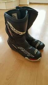 RST boots and helmet.