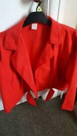 Ladies red cotton summer jacket size 14