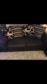 Black and grey 3 seater sofa