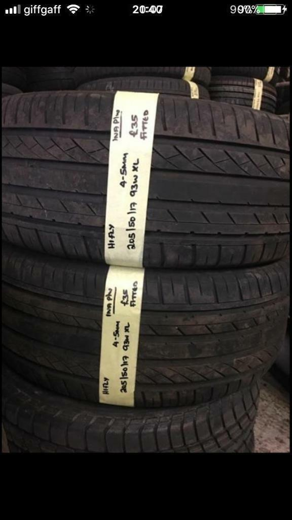 205/50/17 2055017 205-50-17 205:50:17 93W XL HIFLY PAIR OF 2 Tyres.