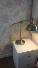 Bedside or side table lamp, brusshed metal, adjustable angles