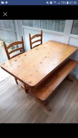 Solid pine Table, 2 chairs and bench
