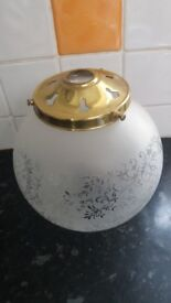 Christopher Wray etched glass light shade with brass fitting