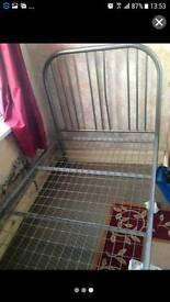 Metal grey single bed frame £20