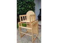 Wooden high chair converts to table and chairs