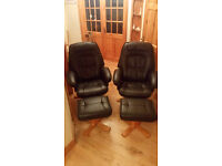 Leathers chairs with stools x 2.