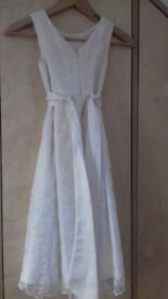 Girl's cream laced bridesmaid dress