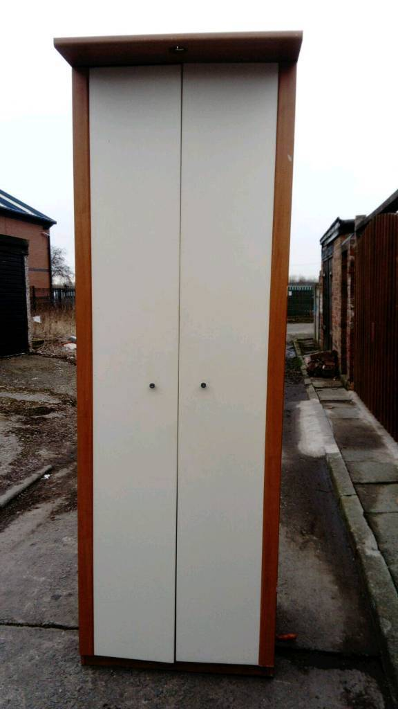IKEA WHITE & BEECH WARDROBE WITH HANGING RAIL GOOD CONDITION FREE LOCAL DELIVERY