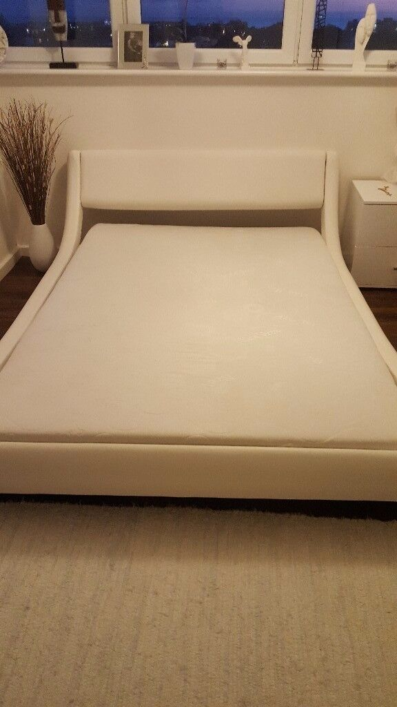 Modern White leather double bed