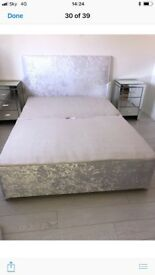 White crushed velvet double divan base with 4 drawers and custom made padded headboard to match