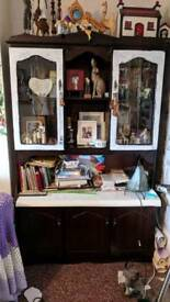 Mahogany effect display cabinet and bookcase
