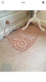 Large rose gold copper storage basket