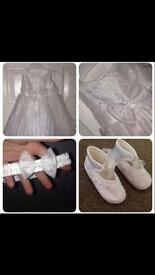 Christening dress, shoes and headband