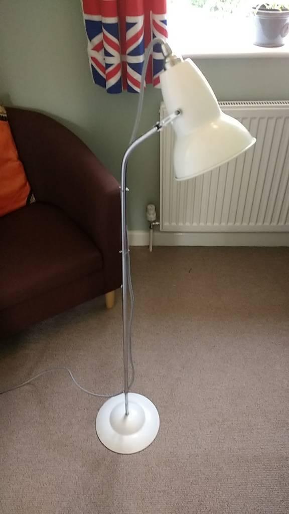 White anglepoise floorlamp