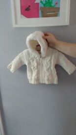 Girl's white padded fleece cardigan with hood, 6-9 months