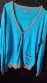Blue inc cotton top/cardigan