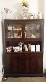display cabinet/storage cupboard - dark wood with glass doors good condition