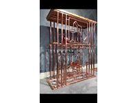 Industrial copper pipe wine bar / wine rack