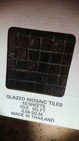 Black Mosaic Tiles Glazed 1 Box
