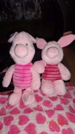 2 Piglet Soft Plush Disney Store Collectible Teddies