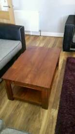 Dark solid oak coffee table