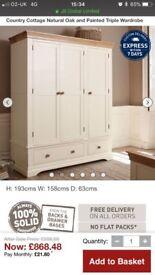 New. 3 door solid oak wardrobe. Country Cottage Range