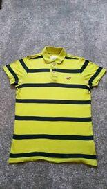 Hollister Mens Polo Shirt size M Lime green/Navy Stripe