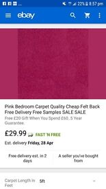 Pink carpet 5ft x 4m brand new in packaging. Ordered wrong size. Selling for price i paid