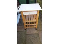 Cream & beech butcher's block trolley/island with drawer, shelf and wine rack