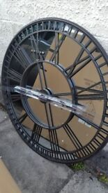 large metal framed/mirrored wall art clock face