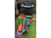 flymo minimo ,bosch easytrim, bosch hedgecutters, pushalong non electric mower