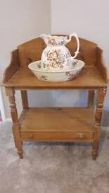 Pine two tier washstand with jug and bowl