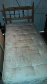 Single bed, mattress and wooden headboard FREE