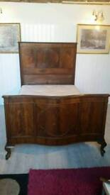Walnut Antique Double Bed